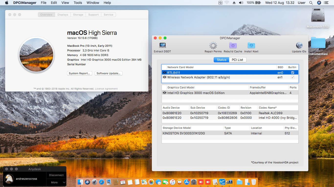 Success Hackintosh macOS High Sierra 10.13.6 Build 17G66 in Acer Aspire E1-431-10002G32M