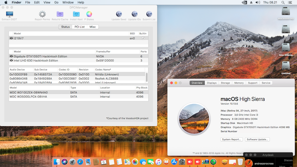 Success Hackintosh macOS High Sierra 10.13.6 Build 17G65 at Asrock H310M-HDV/M.2 + Intel Core i3 8100 + Gigabyte GTX 1050 Ti 4GB