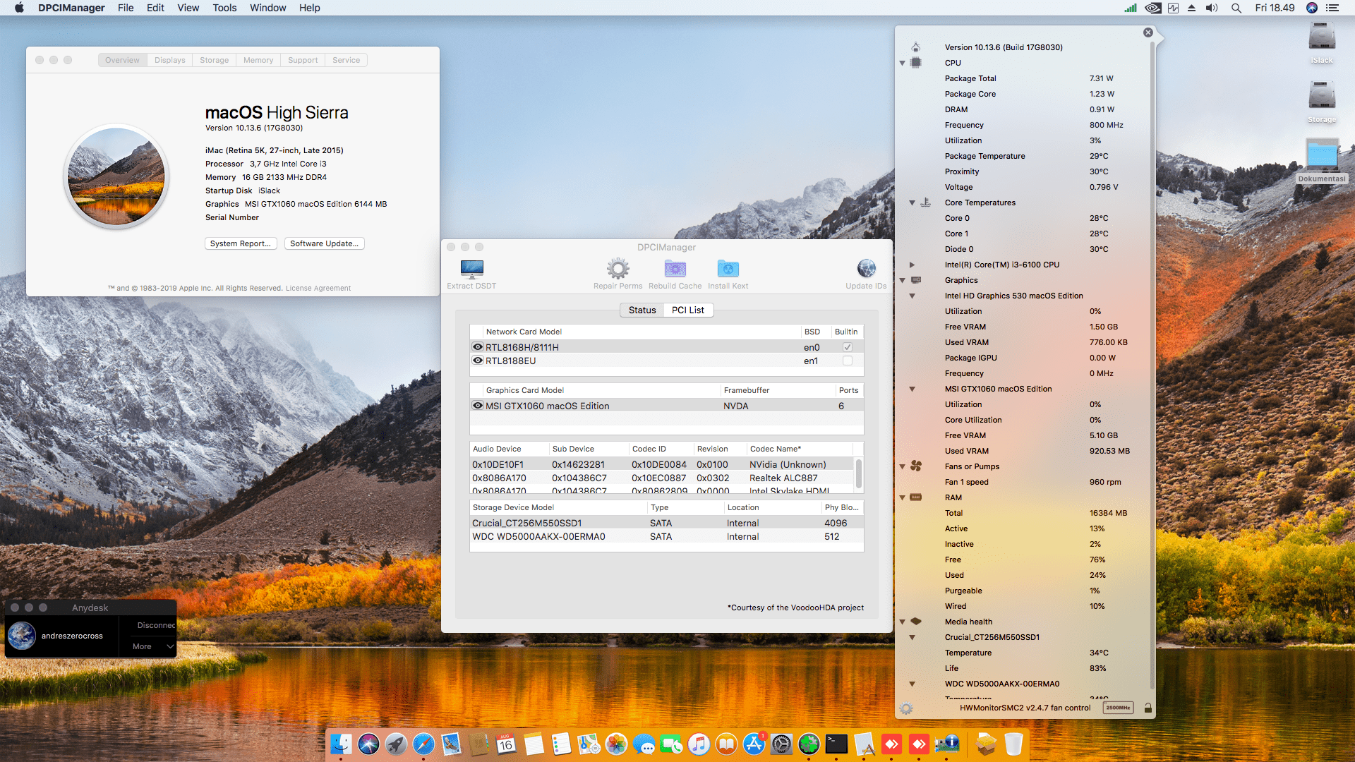 Success Hackintosh macOS High Sierra 10.13.6 Build 17G8030 at Asus B150M-A + Intel Core i3 6100 + MSI GeForce GTX 1060
