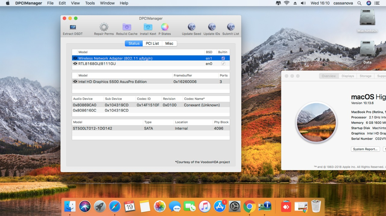 Success Hackintosh macOS High Sierra 10.13.6 Build 17G65 at Asus X455LA-WX127D