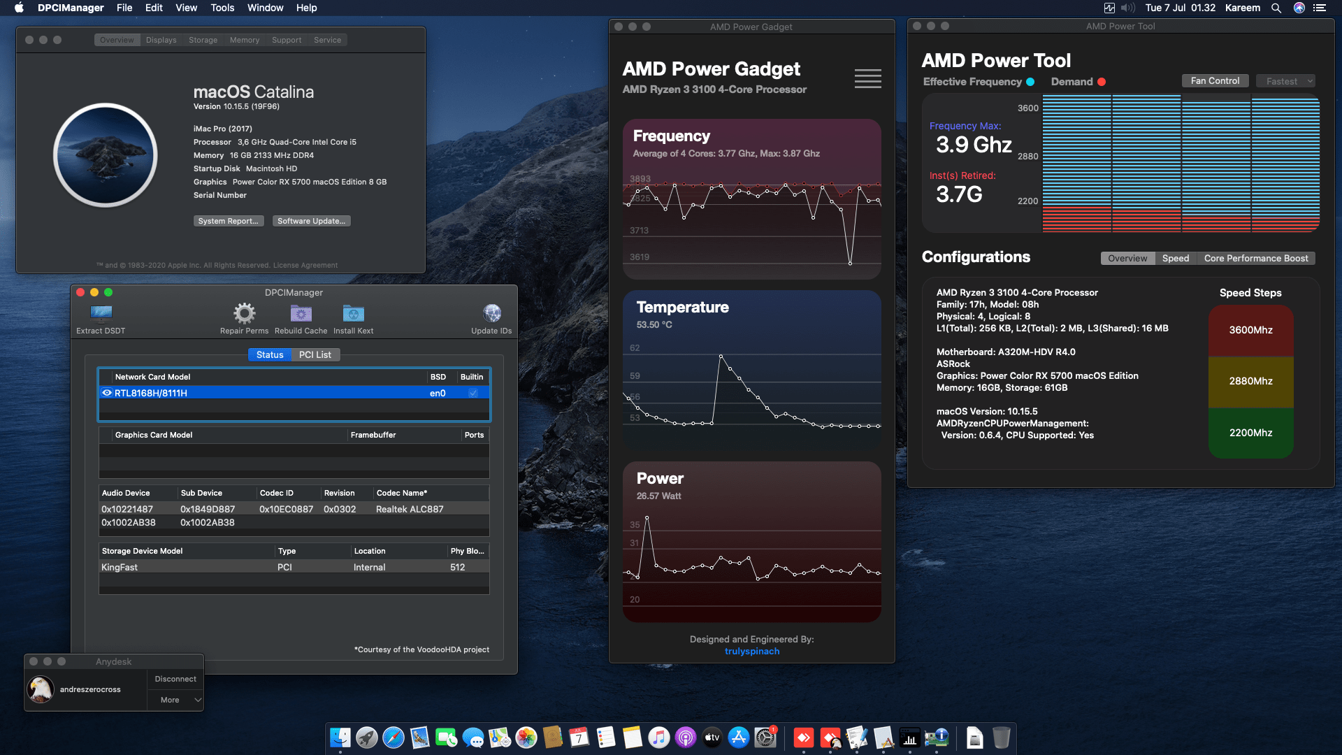 Success Hackintosh macOS Catalina 10.15.5 Build 19F96 in GALAX A320M-HDV R4.0 + AMD Ryzen 3 3100 + Power Color RX 5700
