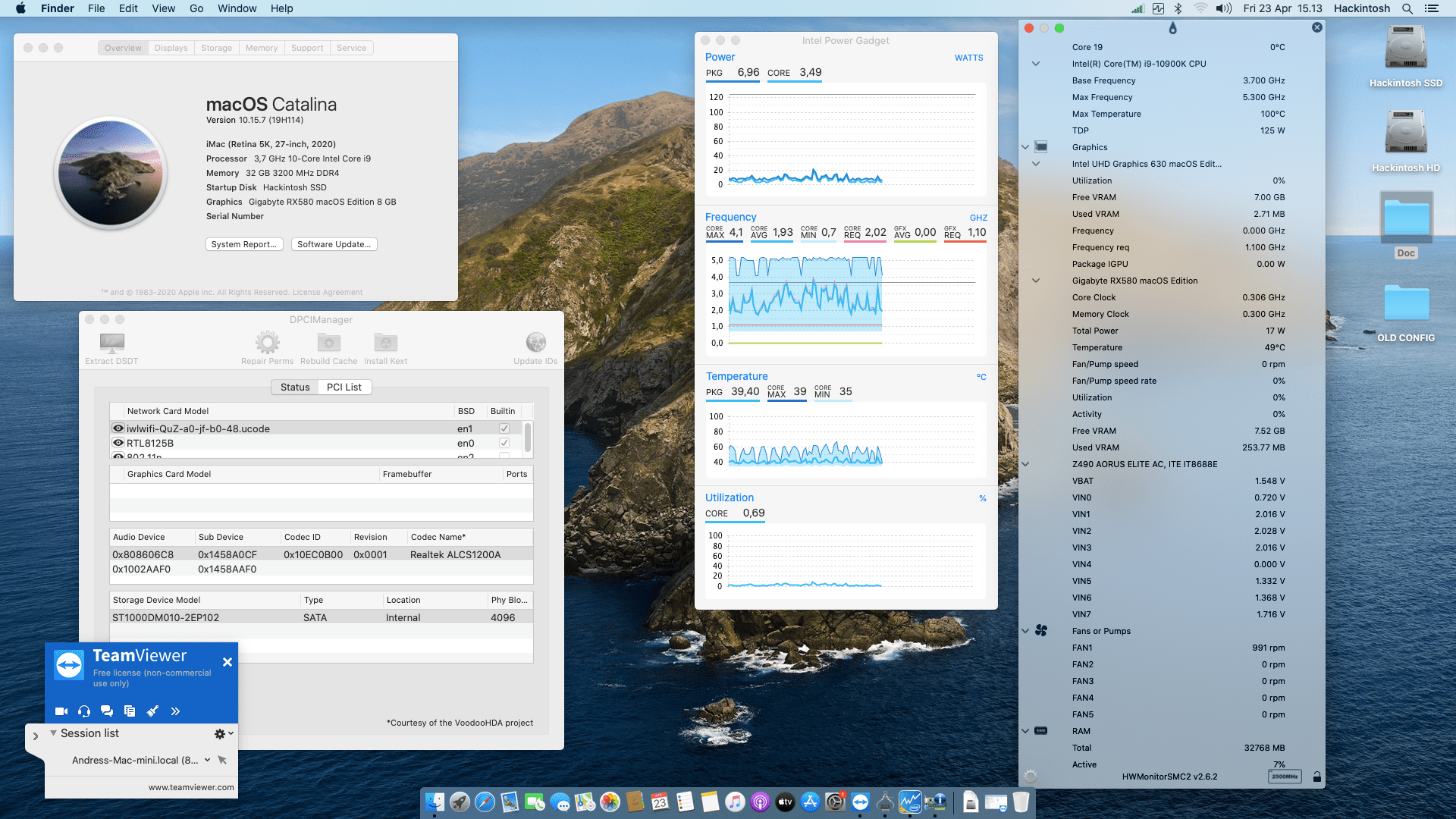 Success Hackintosh macOS Catalina 10.15.7 Build 19H114 in Gigabyte Z490 Aorus Elite AC + Intel Core i9 10900K + Gigabyte RX 580