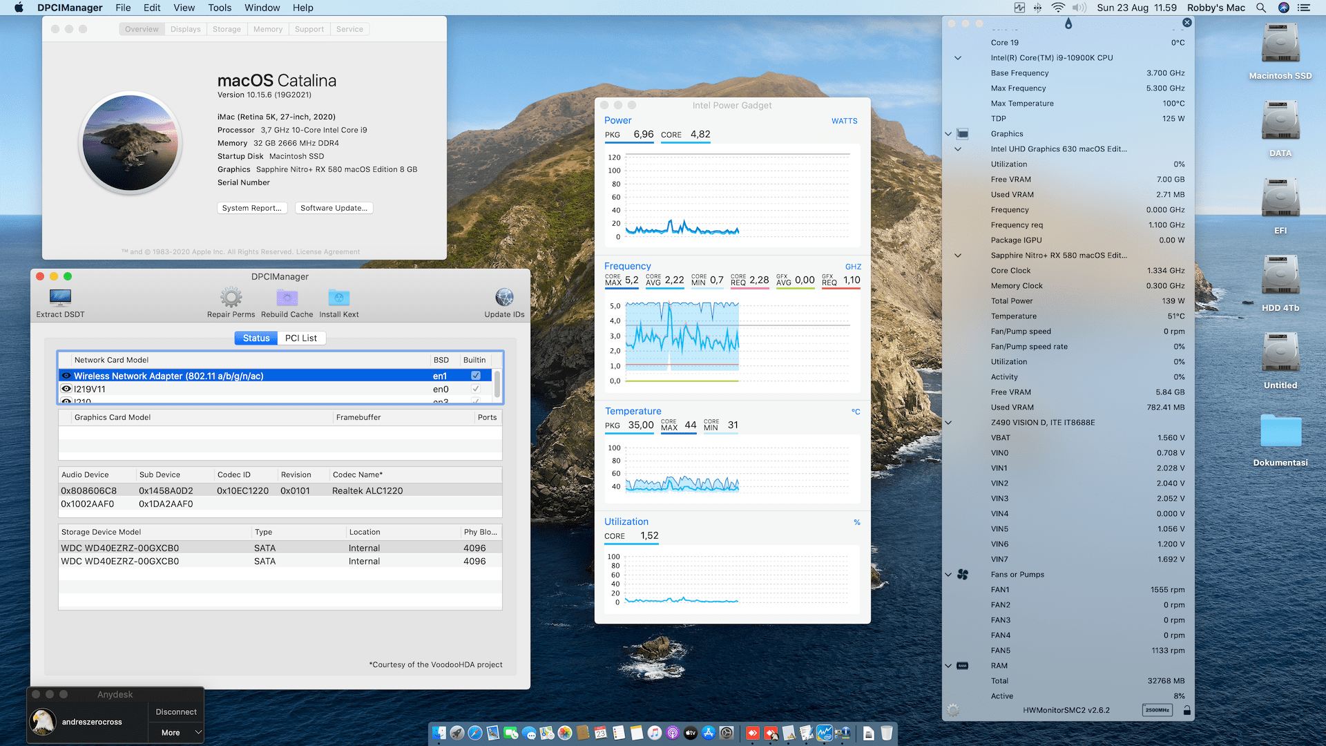 Success Hackintosh macOS Catalina 10.15.6 Build 19G2021 in Gigabyte Z490 Vision D + Intel Core i9 10900K + Sapphire Nitro+ RX 580