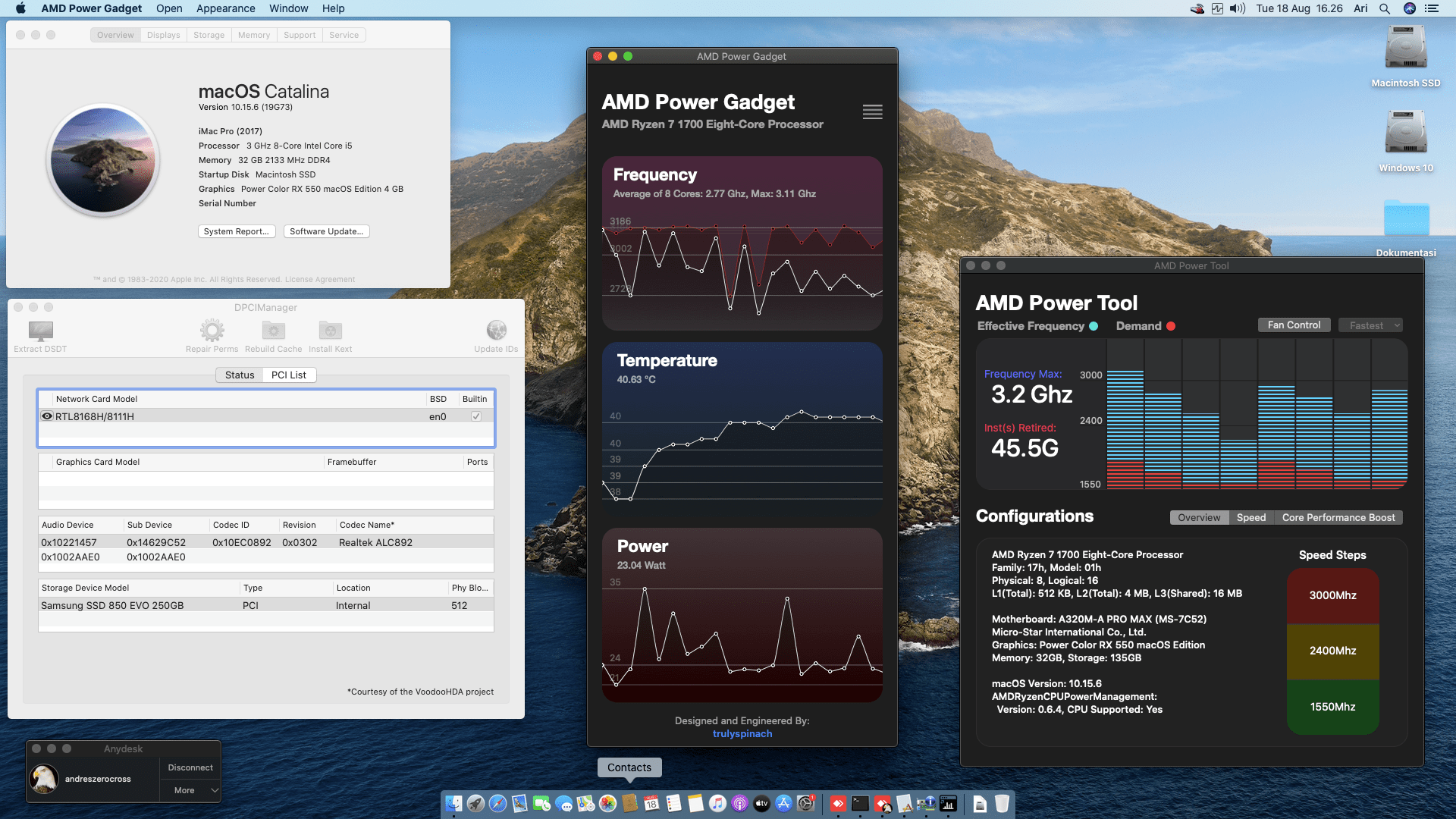 Success Hackintosh macOS Catalina 10.15.6 Build 19G73 in MSI A320M-A Pro Max + AMD Ryzen 7 1700 + Power Color RX 550