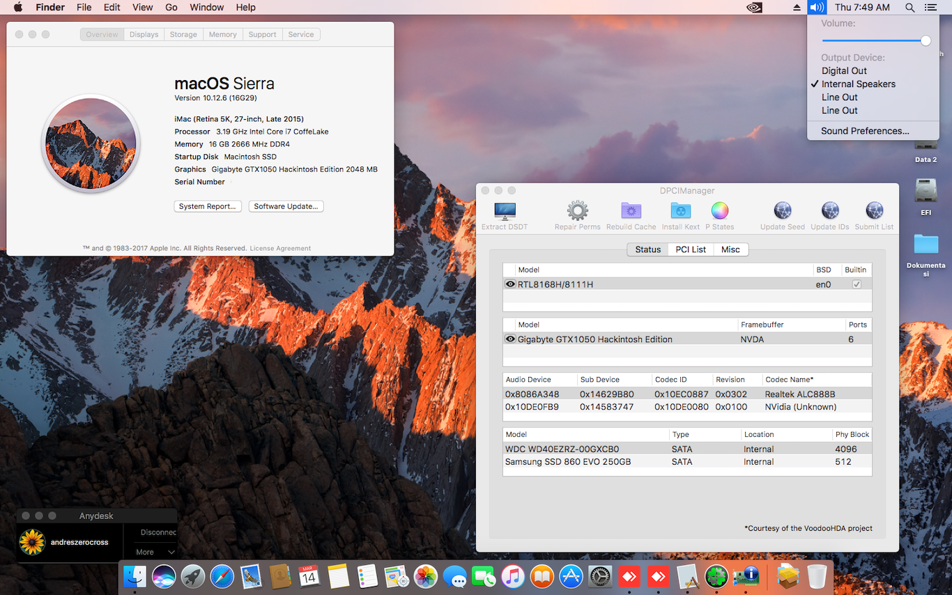 Success Hackintosh macOS Sierra 10.12.6 Build 16G29 at MSI H310I Pro + Intel Core i7 8700 + Gigabyte Geforce GTX 1050