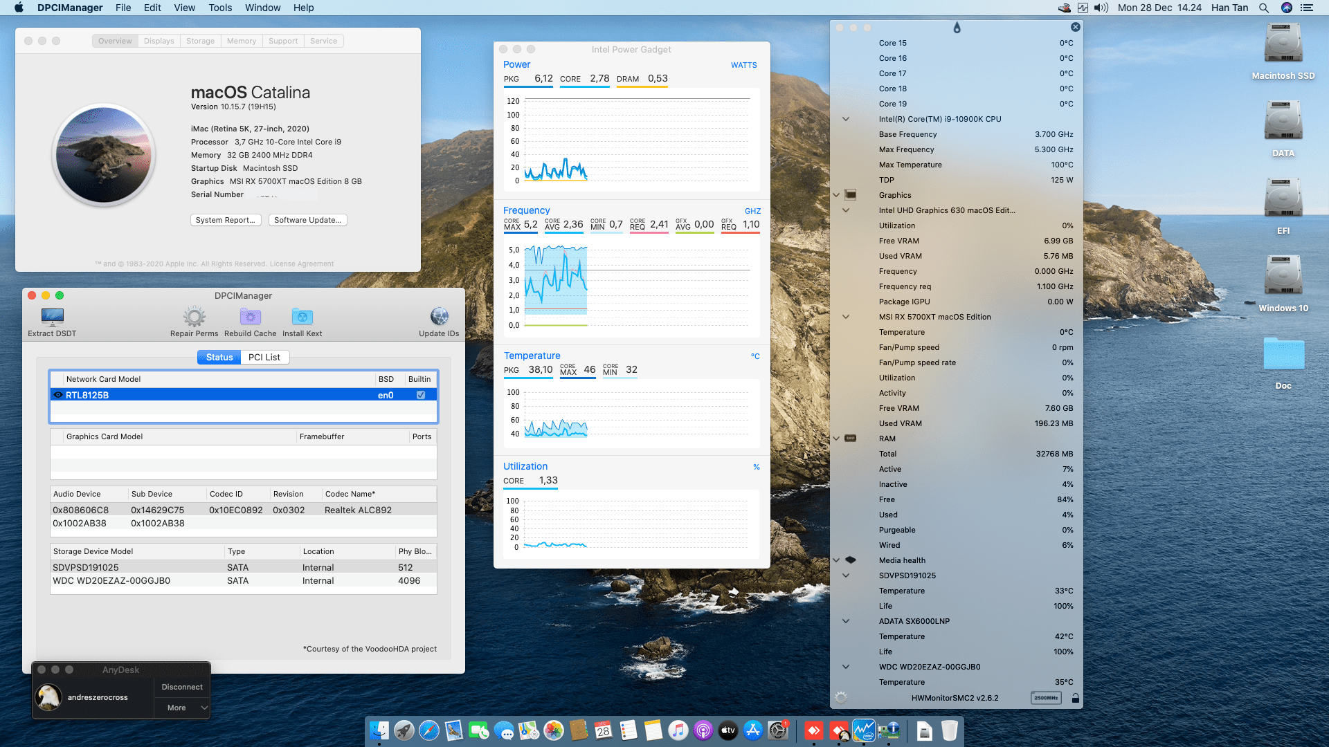 Success Hackintosh macOS Catalina 10.15.7 Build 19H15 in MSI Z490-A Pro + Intel Core i9-10900K + MSI RX 5700XT