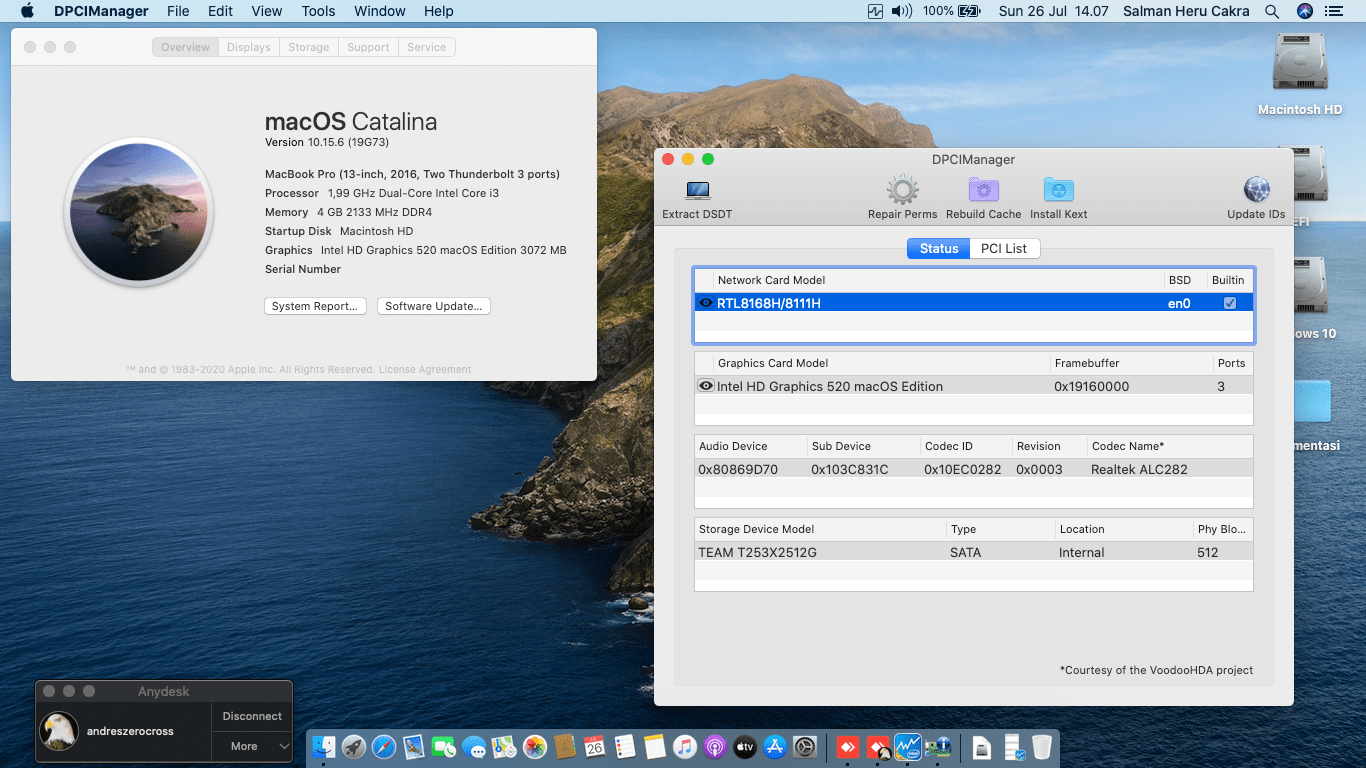 Succes Hackintosh macOS Catalina 10.15.6 Build 19G73 at HP Pavilion 14-BS705TU